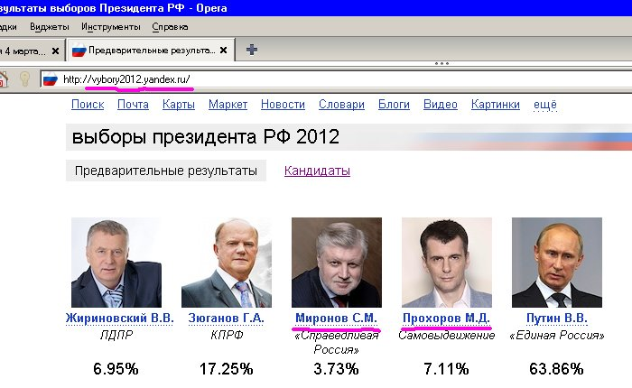 Скриншот главной страницы сайта vybory2012.yandex.ru