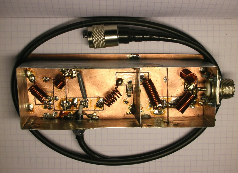 Фотография готового самодельного фильтра гармоник СиБи (ФНЧ), вид на плату