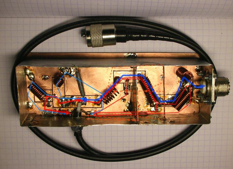Пути высокочастотных токов в фильтре гармоник и поглатителе гармоник